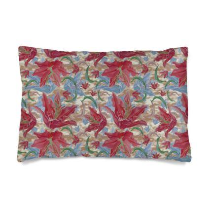 Red, Blue Silk Pillow Case  Lily Garden  Cocoa