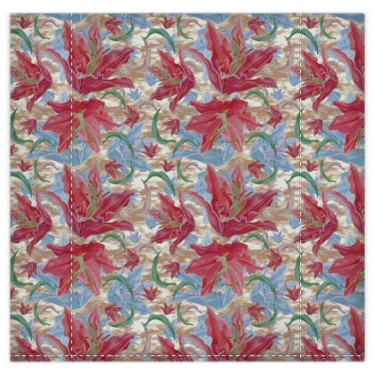 Red, Blue Duvet Cover [kingsize shown] Lily Garden  Cocoa