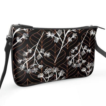 White floral patterned shoulder bag
