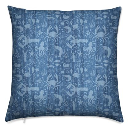 Under Water Sea Life Cushion by Lucinda Kidney