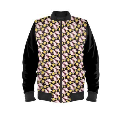 Swans and Lotus Ladies Bomber Jacket