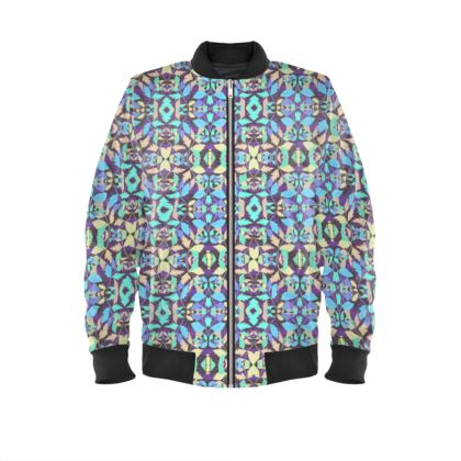 Turquoise Mens Bomber Jacket  Cathedral Leaves  Spotlight
