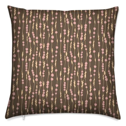 Printed Scandinavian strawberry stripes cushion