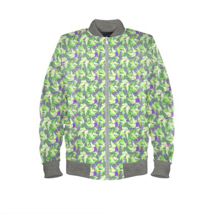 Green Mens Bomber Jacket  Leaves in Flight  Blueberries and Cream