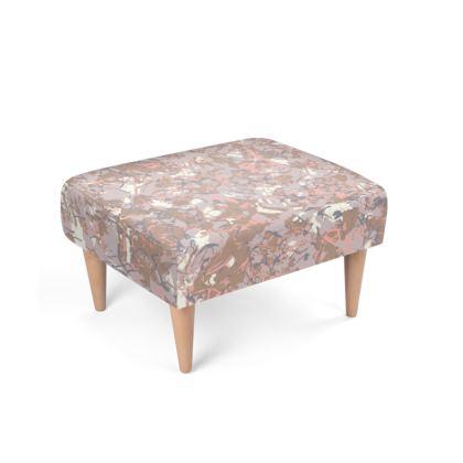 Woody drizzle Scandinavian printed footstool