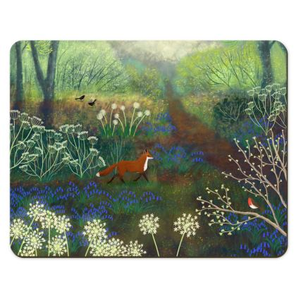 Place Mat with Fox and Bluebells design by Jo Grundy