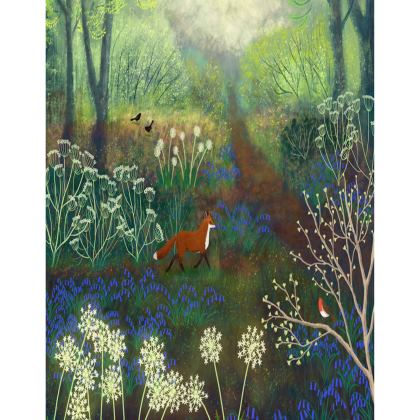 Tray with Fox and Bluebells design by Jo Grundy