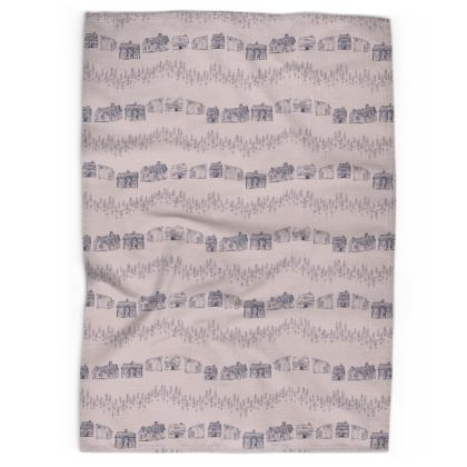 Scandinavian houses printed tea towel