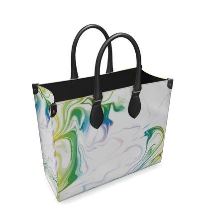Leather Shopper Bag - Marbling Smoke 1