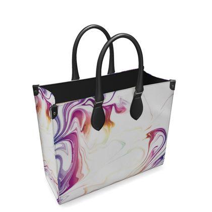 Leather Shopper Bag - Marbling Smoke 2