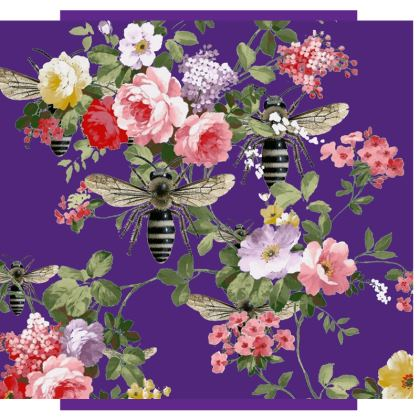 Purple Flora and Bee Suitcase