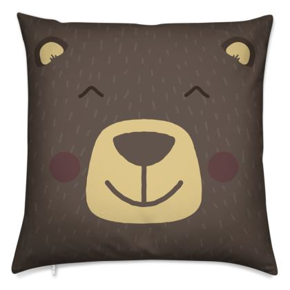 Smiling Grizzly Bear Cushion