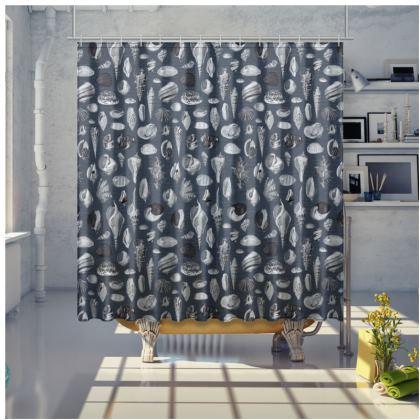 Shower Curtain Nautilus in navy blue grey