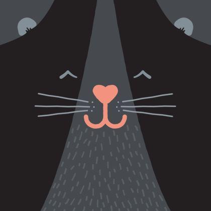 Smiling Black Cat Cushion