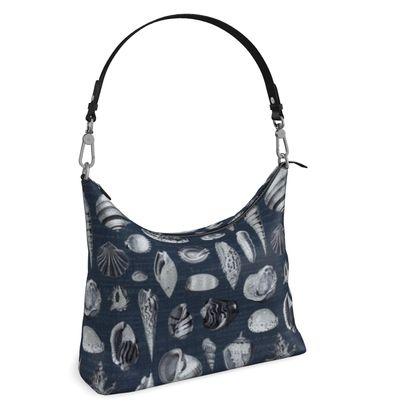 Square Hobo Bag Nautilus in navy blue grey