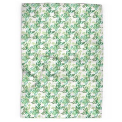 Abstract Spring Green Butterflies Pattern Tea Towels