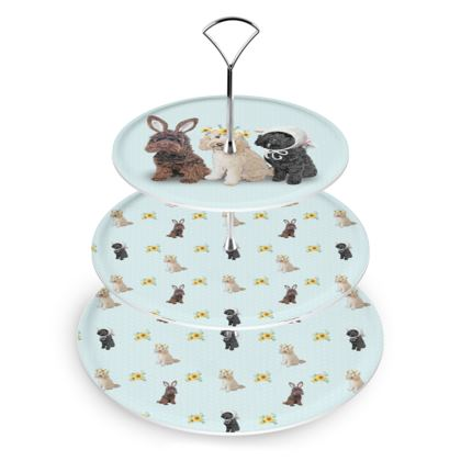 Cockapoo Easter 3 tier cake stand