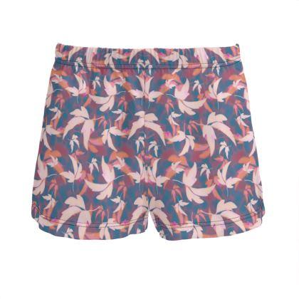 Blue, Peach, Ladies Silk Pyjama Shorts  Leaves in Flight  Berries