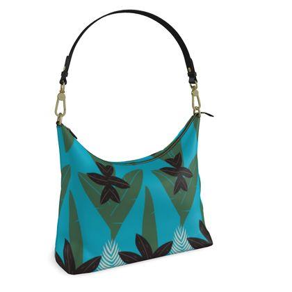 Square Hobo Bag- Emmeline Anne Sophisticated Leaves Teal