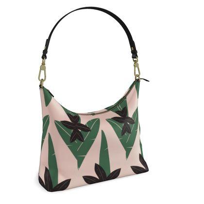 Square Hobo Bag- Emmeline Anne Sophisticated Leaves Pink