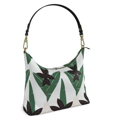 Square Hobo Bag- Emmeline Anne Sophisticated Leaves White