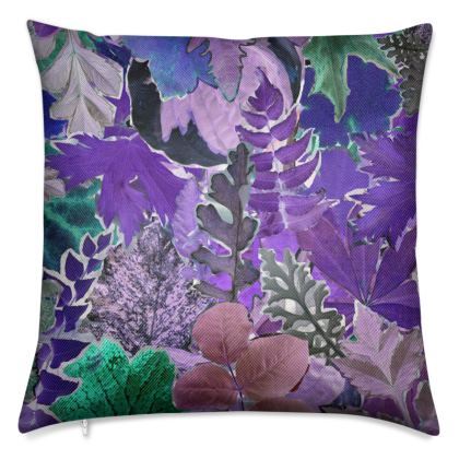 Purple Forna Print Luxury Cushion