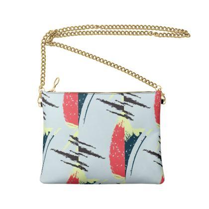 Crossbody Bag With Chain- Emmeline Anne Splash of Red
