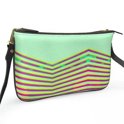 Pochette Double Zip Bag- Emmeline Anne Lime Zigzag