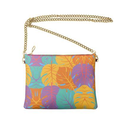 Crossbody Bag With Chain- Emmeline Anne Lovely Leaves