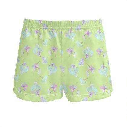 Green Ladies Silk Pyjama Shorts  My Sweet Pea  New Lime
