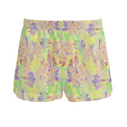 Yellow Ladies Silk Pyjama Shorts  Moonlight  Foxglove