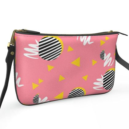 Pochette Double Zip Bag- Emmeline Anne Bubblegum Pink
