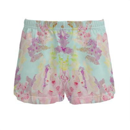 Turquoise Ladies Silk Pyjama Shorts  Moonlight  Morning
