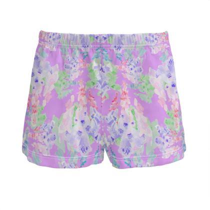 Mauve Ladies Silk Pyjama Shorts  Moonlight  Blackberry