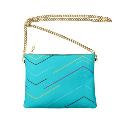 Crossbody Bag With Chain- Emmeline Anne Blue Zigzags