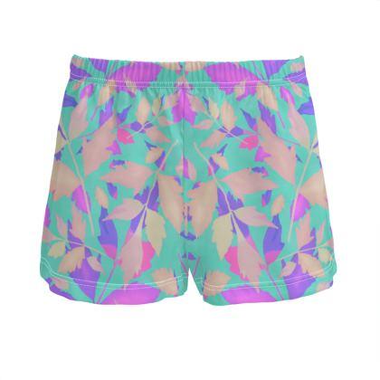Turquoise  Ladies Silk Pyjama Shorts  Cathedral Leaves  Sea Urchin