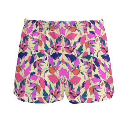 Pink, mauve Ladies Silk Pyjama Shorts  Diamond Leaves  Sunset