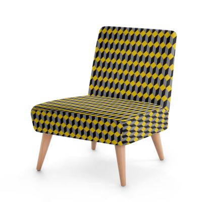Grey, Yellow and Black Cube Pattern Chair