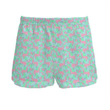 Teal Ladies Silk Pyjama Shorts  Oriental Leaves  Blossom