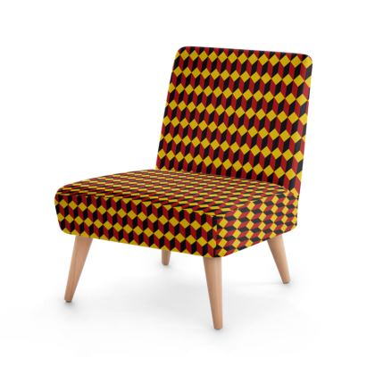 Red, Yellow and Black Cube Pattern Chair.