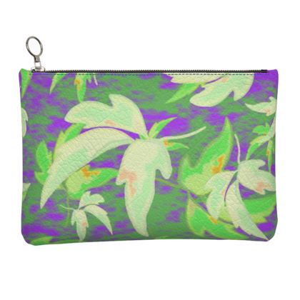Blue, Green, Leather Clutch Bag [large shown] Leaves in Flight  Blueberries and Cream