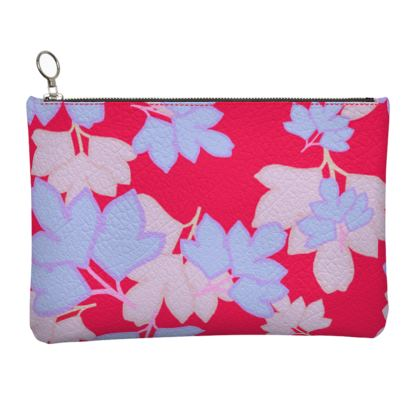 Red, Blue  Leather Clutch Bag  Oriental Leaves  Leaves on Cerise
