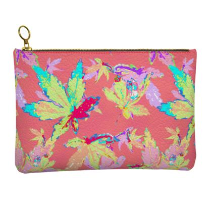 Red Leather Clutch Bag [large shown]  Regal Leaves  Red Robin