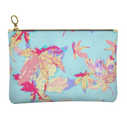 Turquoise Leather Clutch Bag [large shown]  Regal Leaves  Cobalt Sky