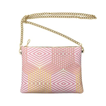 Crossbody Bag With Chain- Emmeline Anne Pink and Gold Dazzle