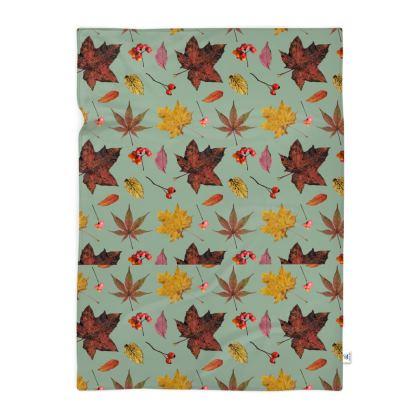 Blanket - Autumn Pattern on Green Background