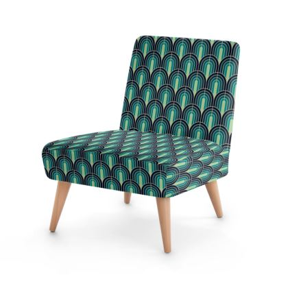 Scallop Pattern Chair In Shades Of Blue And Turquoise.