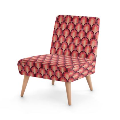 Scallop Pattern Chair In Shades Of Burgundy, Red and Pink.