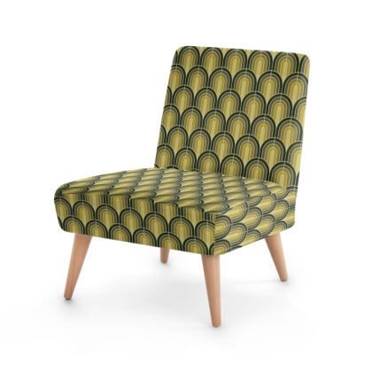Scallop Pattern Chair In Shades Of Mossy, Sage and Olive Greens