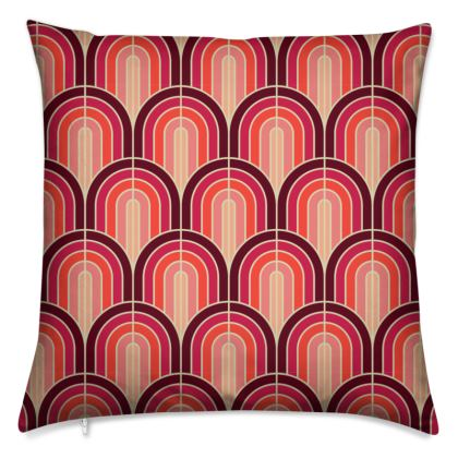Scallop Pattern Cushion In Shades Of Burgundy, Red and Pink.